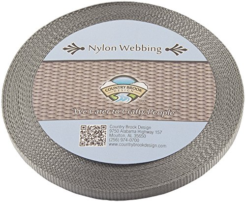 Sil Rope - Country Brook Design 3/8 Inch Silver Heavy Nylon Webbing, 20 Yards