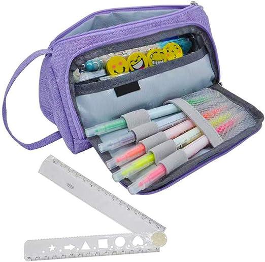 SwirlColor Estuche Escolar Grande Estuche para Lápices Bolsa de Maquillaje para Lápices de Gran Capacidad para Estudiantes Adultos con una Regla de Plástico Plegable de 30 cm (Púrpura): Amazon.es: Juguetes y juegos