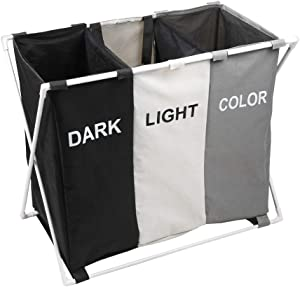 150L Laundry Cloth Hamper Sorter Basket Bin Foldable 3 Sections with Fiber Glass Frame 29''×24''H Washing Storage Dirty Clothes Bag for Bathroom Bedroom Home (Multicolor) (ASSORT Black Beige Grey)…
