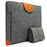 Sinoguo Classic Gray Felt & Leather Handmade Case Bag Holder Sleeve Cover Pouch for 13