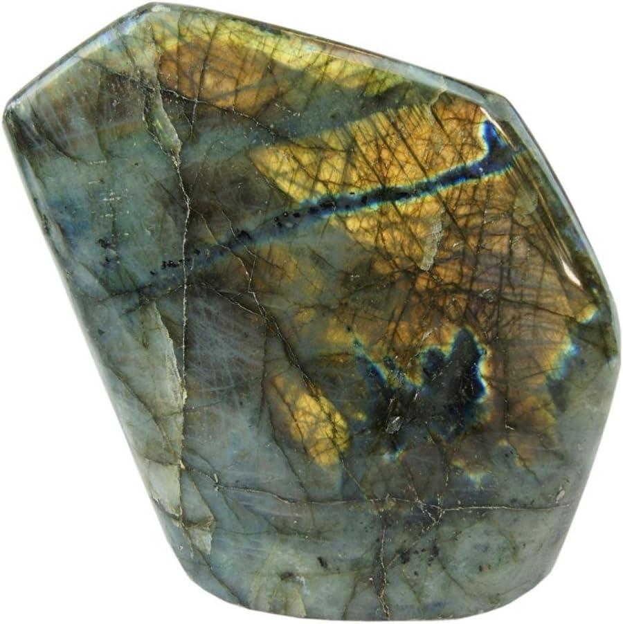 JIC Gem Healing Labradorite Upright Stone Gemstone Worry Therapy Crystal Point Reiki Stone Home and Office Decor 12-16 oz