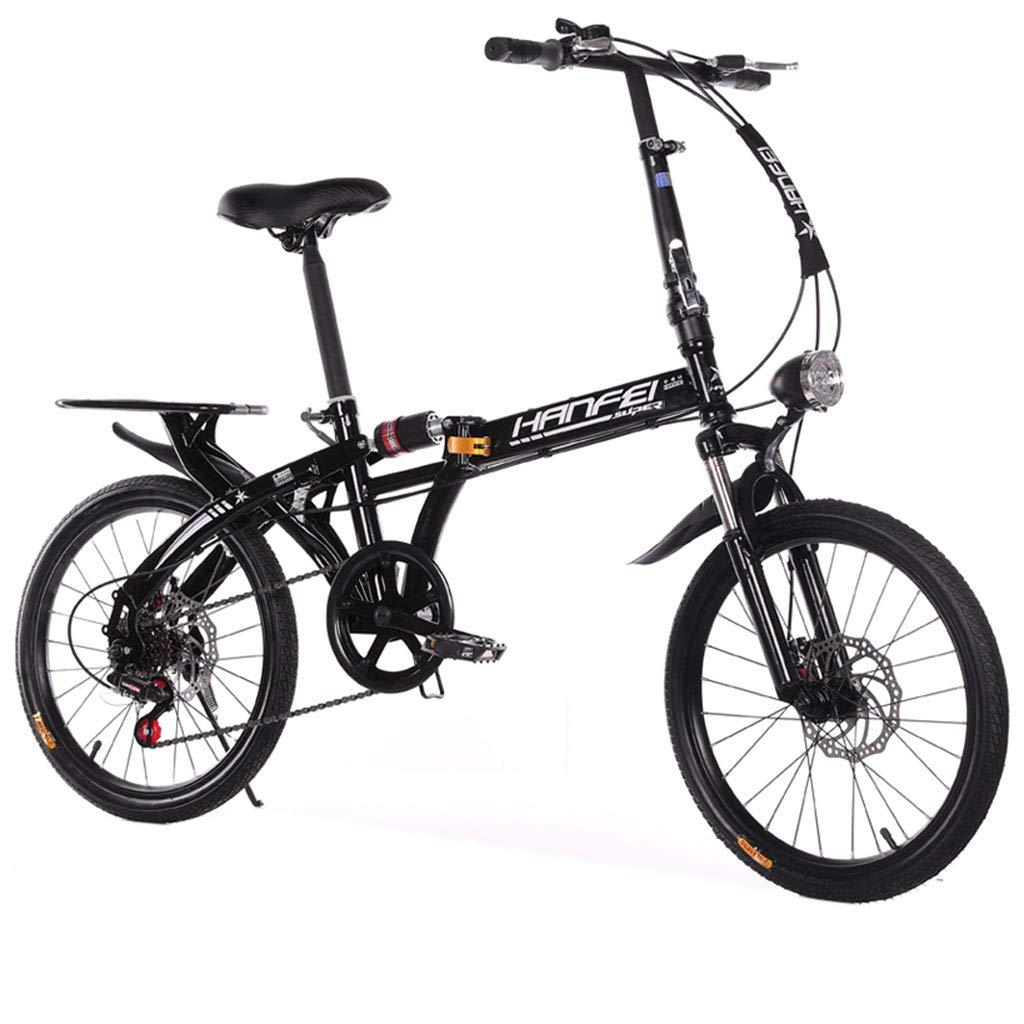 Paseo Bicicleta Plegable Bicicleta Unisex radios de 20 Pulgadas cambiando Deportes Bicicleta portátil (Color : Black, Size : 142 * 35 * 116cm)