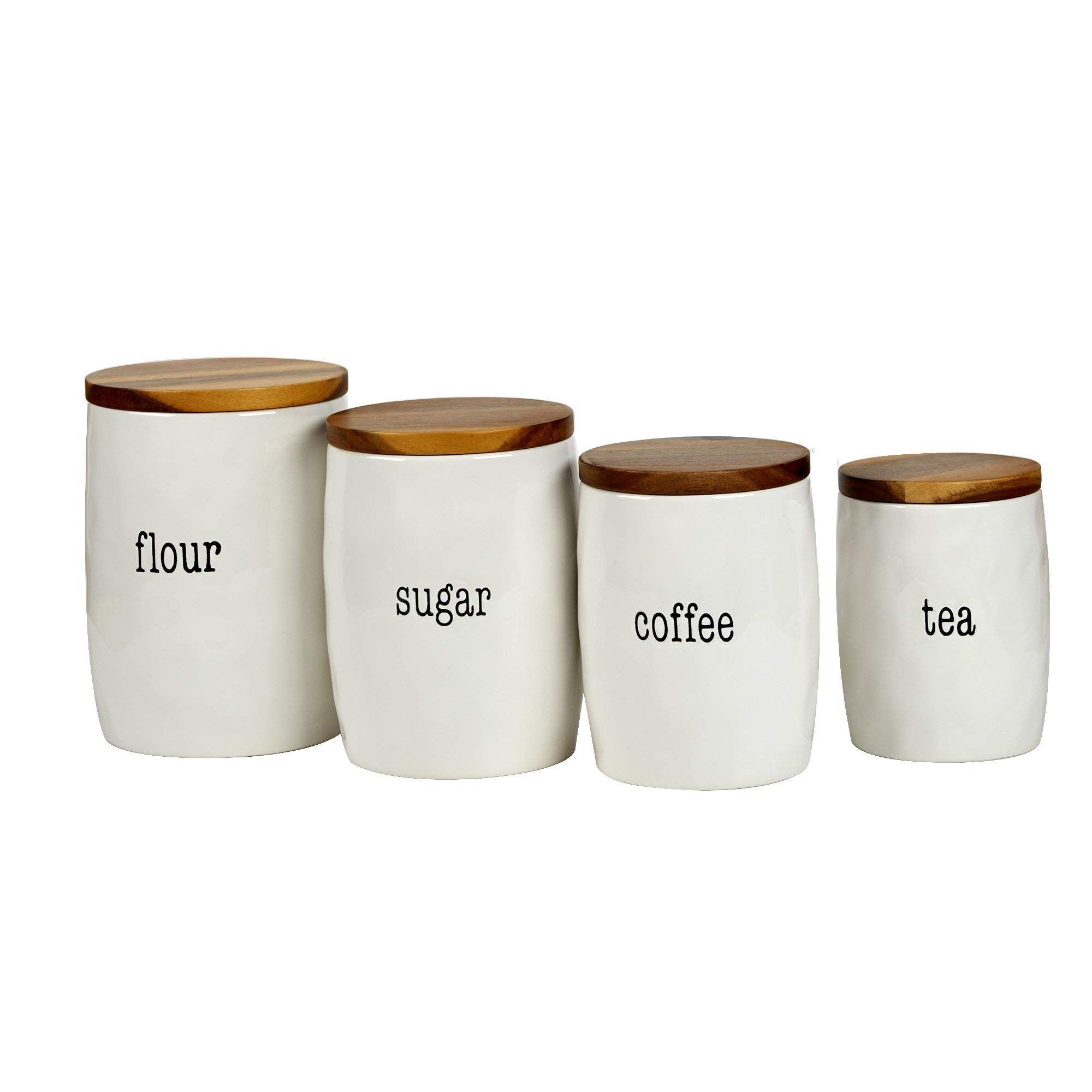 Certified International Corp 23695 It's It's Just Words 4 piece Canister Set with Wood Lids, Multicolor (Renewed)