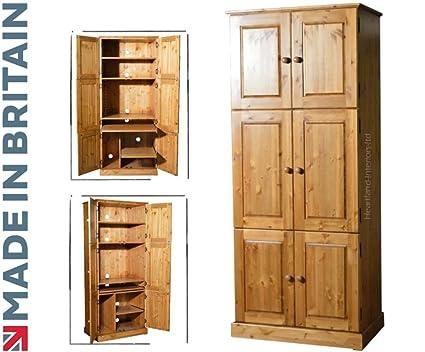 Solid Pine Computer Hideaway Cabinet Large 6 Door Handcrafted