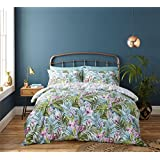 TROPICAL LEAVES FLOWERS GREEN BLUE COTTON BLEND CANADIAN QUEEN SIZE (230CM X 220CM - UK KING SIZE) DUVET COMFORTER COVER