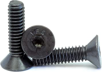 100, 6-32 x 1//2 Black Oxide Stainless Steel Flat Head Socket Cap Screws #6-32