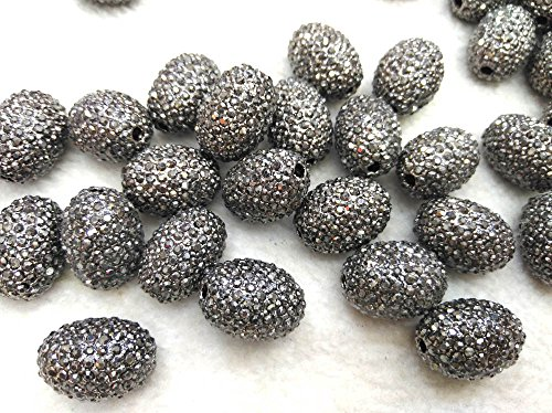 12pcs 12-16mm Micro PAVE Crystal Wave Pave Gunemtal Bead Clear Zircon Gemstones Pave Rice Barrel Drum Connector Gold Jet ()