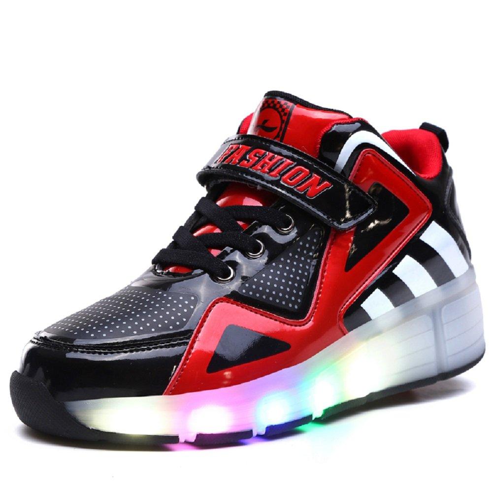 ❤❤❤Ruedas Ajustables LED Zapatillas con Luces Ruedas Color Deporte Zapatos de Skate Roller Deportivos Zapatos High Top Running Shoes Trainers Monopatín Sneaker para Niños Niñas❤❤❤