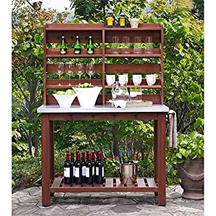 Beau Pemberly Row Zinc Top Indoor Or Patio Island Buffet With Hutch