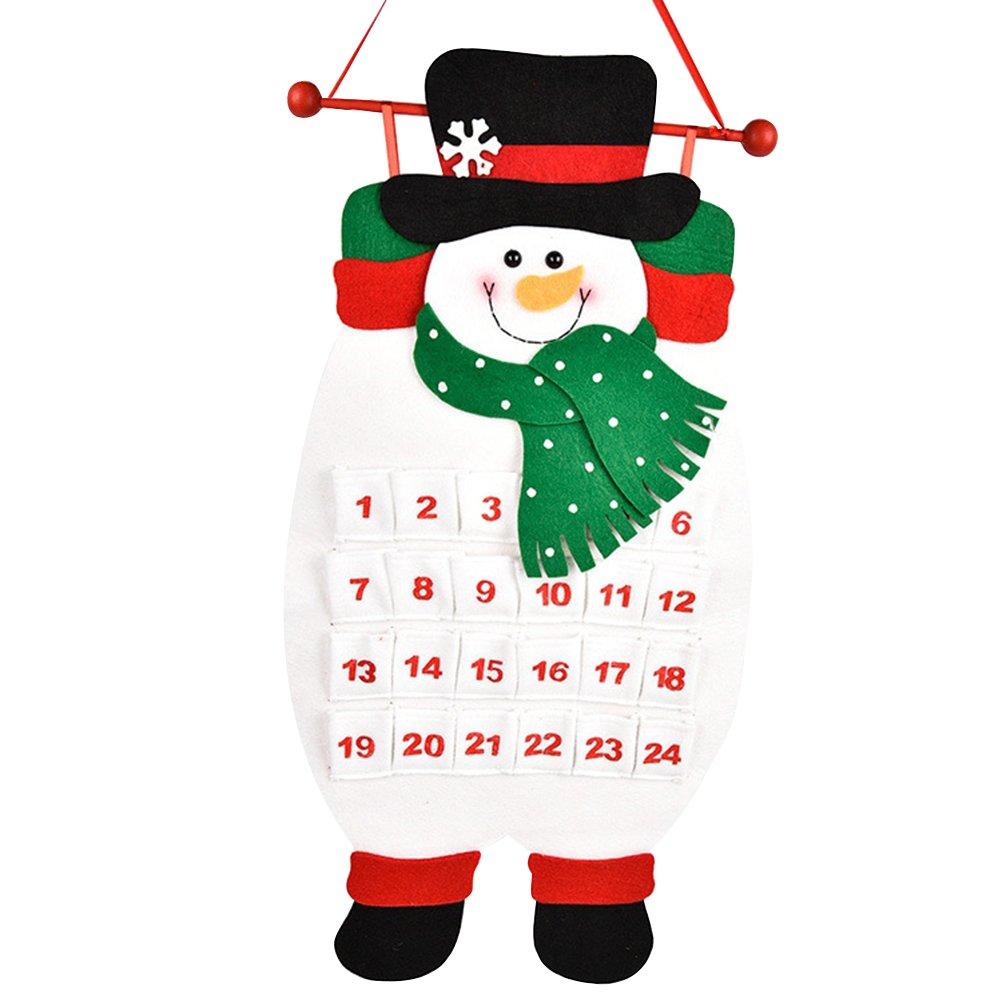 OULII Calendrier de l'Avent Bonhomme de neige de Noël calendrier à remplir Décoration de Noël décoration murale décoration