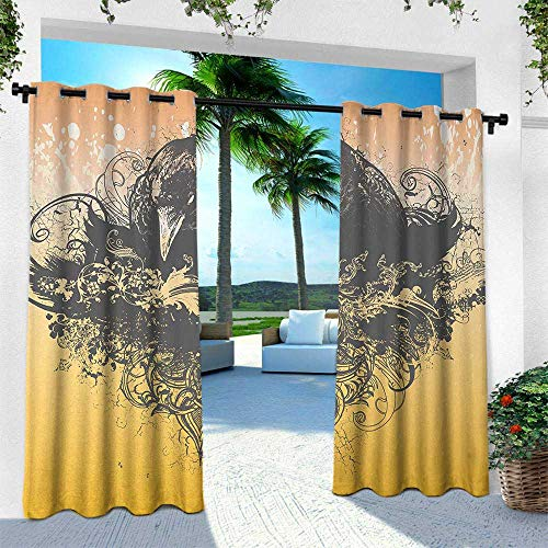 Hengshu Black, Outdoor Curtain for Patio,Outdoor Patio Curtains,Halloween Theme Vector Illustration of a Wicked Crow and Ornate Flowers Print, W84 x L96 Inch, Black and Mustard
