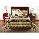 OSD 6pc Brown Green Fishing Stripes Theme Comforter TwinXL Set, Cabin Lodge Hunting Pattern, Vibrant Colors, Geometric Patchwork Striped Inspired, Boats, Sea Animals Bedding