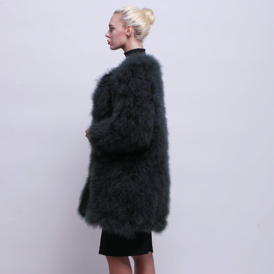 URSFUR Women Winter Jacket Real Ostrich Feather Fur Coat Opal Green XL by URSFUR (Image #4)