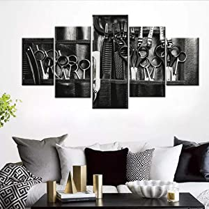 5 Piece Canvas Wall Art Black Haircut Tool Picture Abstract Hair Salon Painting Contemporary Artwork for Living Room HD Prints House Decor Giclee Wooden Framed Stretched Ready to Hang(60''Wx32''H)