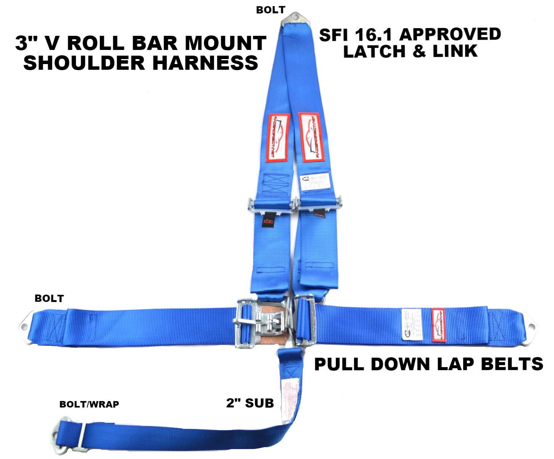 Racerdirect.net Blue Safety Harness 5 Point Racing Harness SFI 16.1 Latch & Link 3'' SEAT Belt