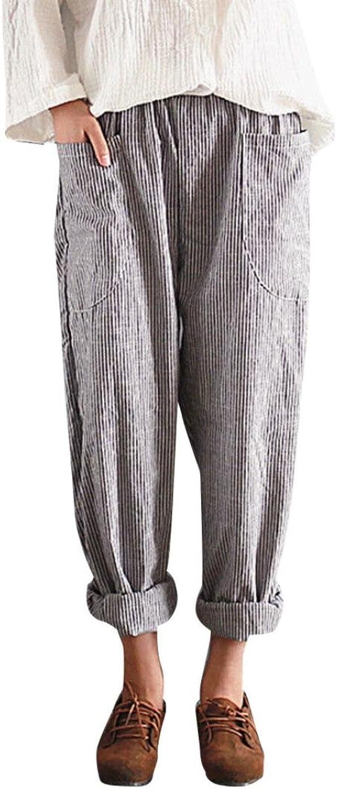 DAYLIN Pantalones Mujer Cintura Alta Vintage Rayas Suelto Algodón ...