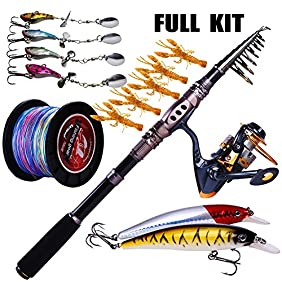 Sougayilang Spinning Rod and Reel Combos Carbon Telescopic Fishing Rod Reel Line Lure Tackle Kit Combo for Saltwater Freshwater Fishing