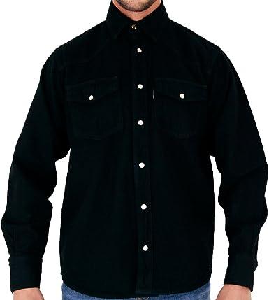 Camisa de mezclilla azteca para hombre en Stonewash & Black: Amazon.es: Ropa y accesorios