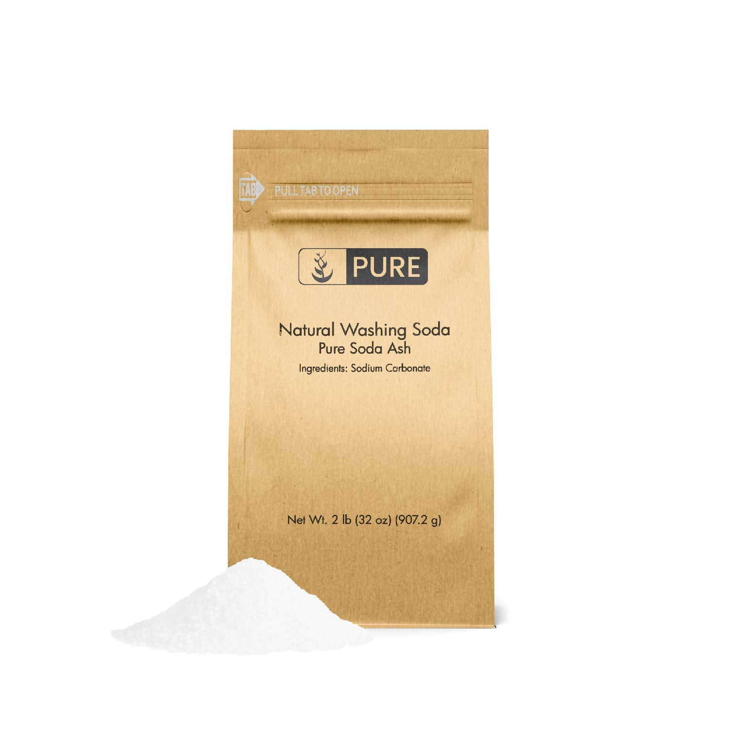 Natural Washing Soda (2 lb.) by Pure Organic Ingredients, Also Called Soda Ash or Sodium Carbonate, Eco-Friendly Packaging, Multi-Purpose Cleaner, Water Softener, Stain-Remover by Pure Organic Ingredients