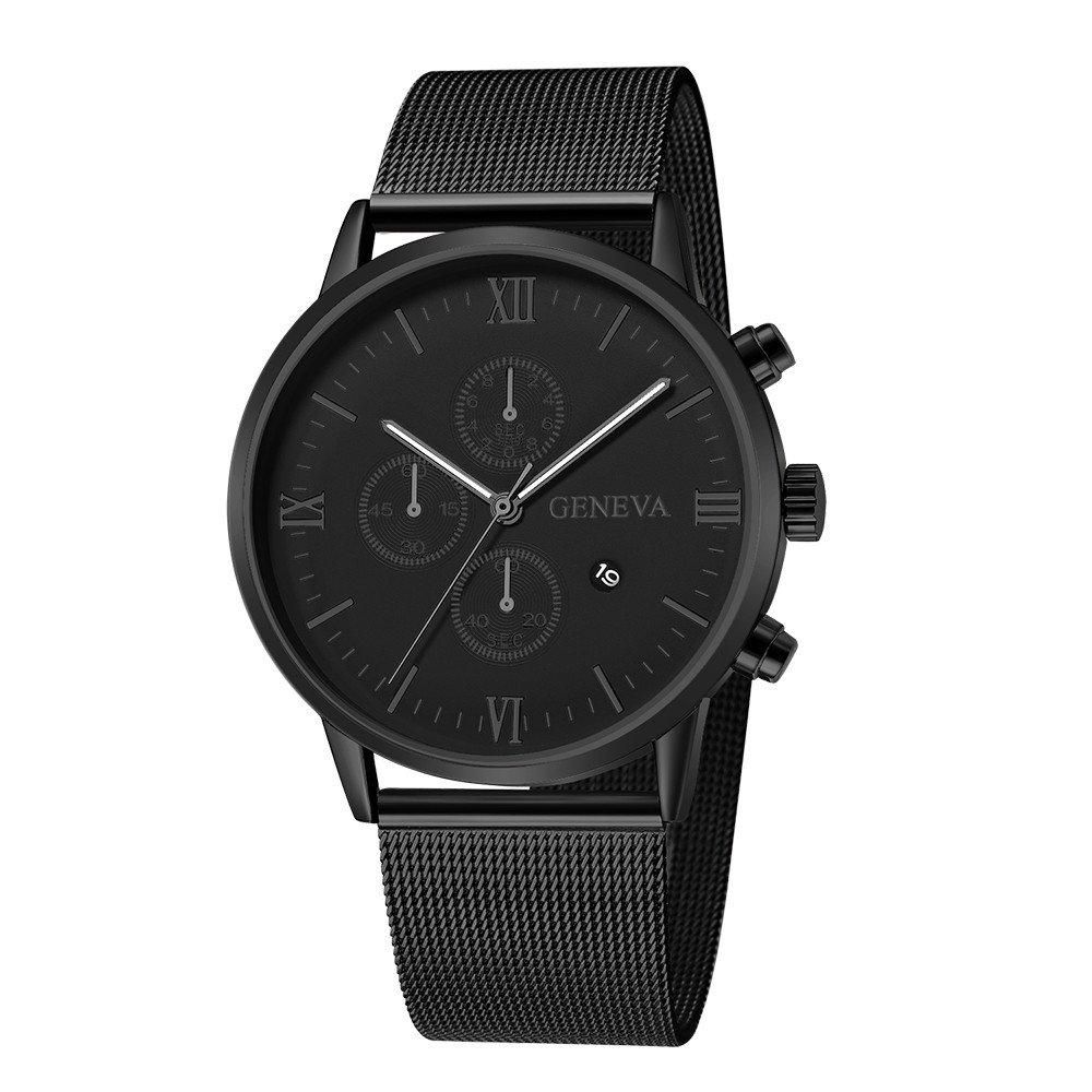 JiaMeng Reloj de Cuarzo Reloj de Pulsera de Cuarzo analógico Deportivo de Acero Inoxidable de los Hombres de Moda con Calendario(Multicolor1): Amazon.es: ...