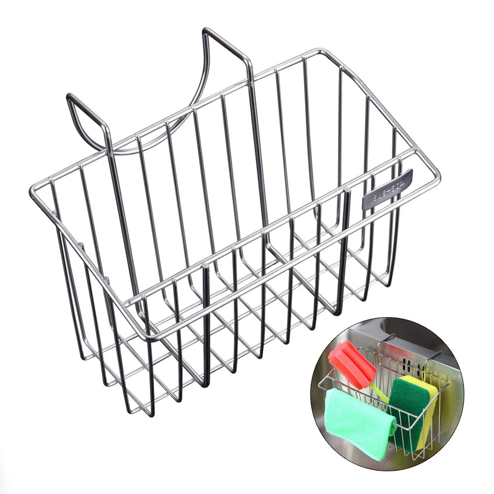 HJKK Sponge Holder for Kitchen Sink,Rust Proof 304 Stainless Steel Basket Storage Holder,Sink Organizer for Sponge Brush Soap Towel Dish Cloth Dishwashing Liquid and More - in Sink Sponge Holder
