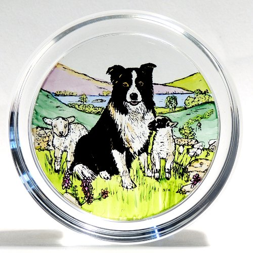 Decorative Hand Painted Stained Glass Paperweight in a Collie Dog and Lambs Design.