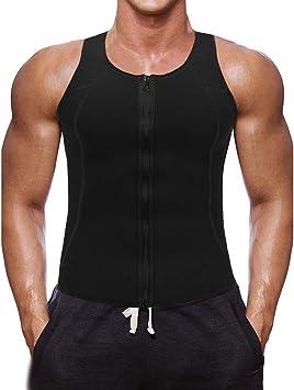 Litthing Chaleco Deportivo para Hombres Faja Reductora Sauna Camiseta Adelgazante Térmica Compresión Muscular Vest para Quemar Grasa Sudoración Gimnasio con Cremallera: Amazon.es: Deportes y aire libre