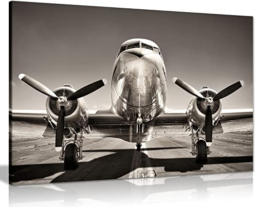 Vintage Silver Airplane Aeroplane Canvas Wall Art Picture Print 36x24in