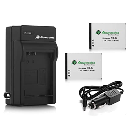 Amazon powerextra 2 pack replacement canon nb 5l battery powerextra 2 pack replacement canon nb 5l battery 1500mah with charger for canon powershot s100 sciox Images