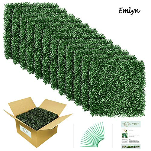 Emlyn Artificial Boxwood Hedge Plants Screen UV Protection Suitable for Both Outdoor or Indoor, Garden, Backyard and Home Decor 20 x 20 Inch (12 piece/box)