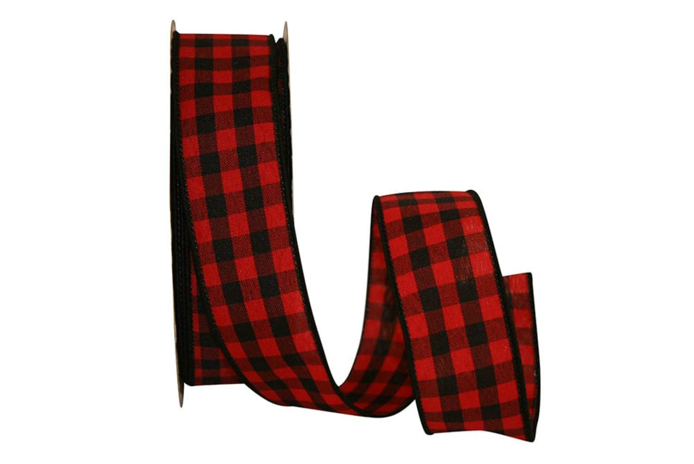 1.5' Cabin Buffalo Plaid Ribbon: Red/Black (25 Yards) Christmas Wired Edge Ribbon Reliant Ribbon