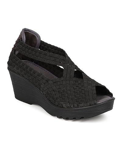 fc2363bf0e1 Nature Breeze Mascara-04 Women Elastic Fabric Weave Slip On Wedge Walking  Shoe - Black