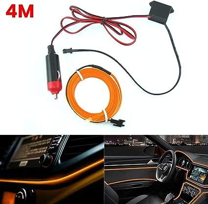 4M Red LED Optical Fiber Car Interior Ambient Light Lamp 12V Car Car CAR