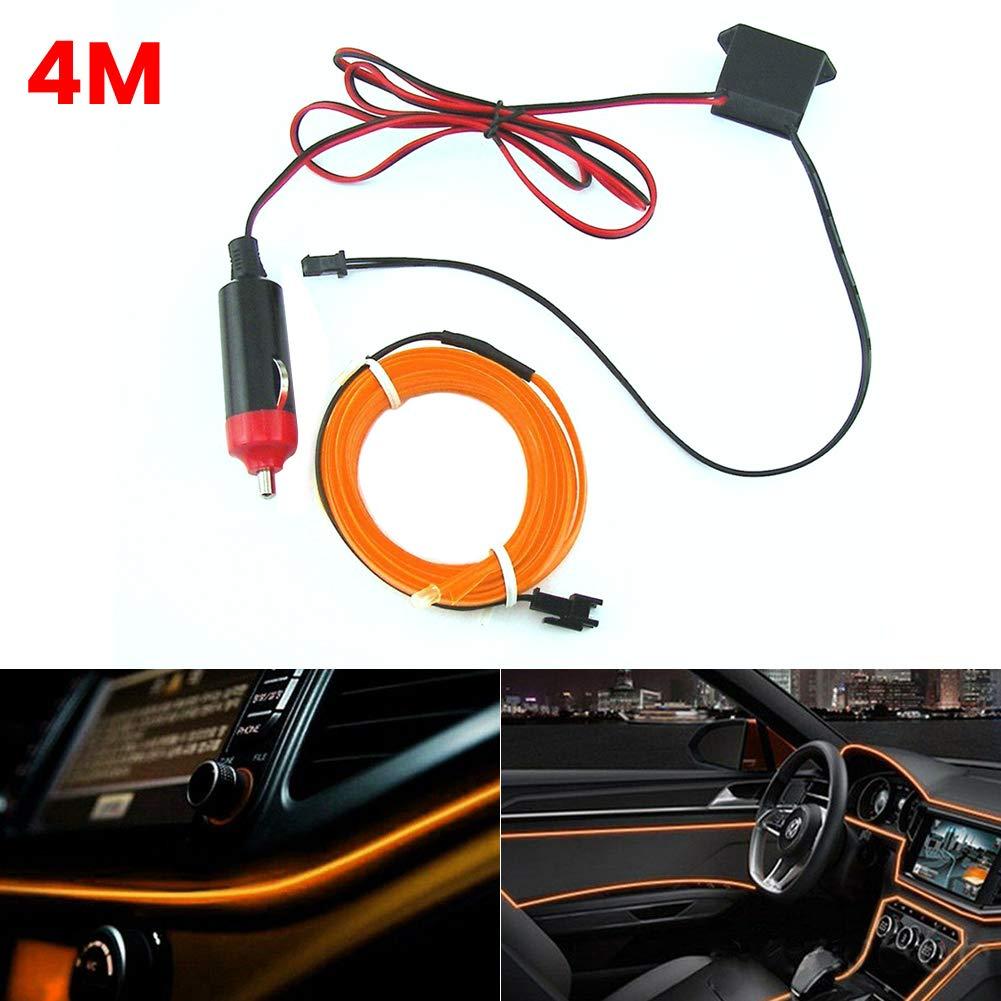 Alivier 4M 12V LED Tiras Luces Luz de Alambre electroluminiscente Que Brilla intensamente para el Ambiente Interior del autom/óvil Luz Ambiental