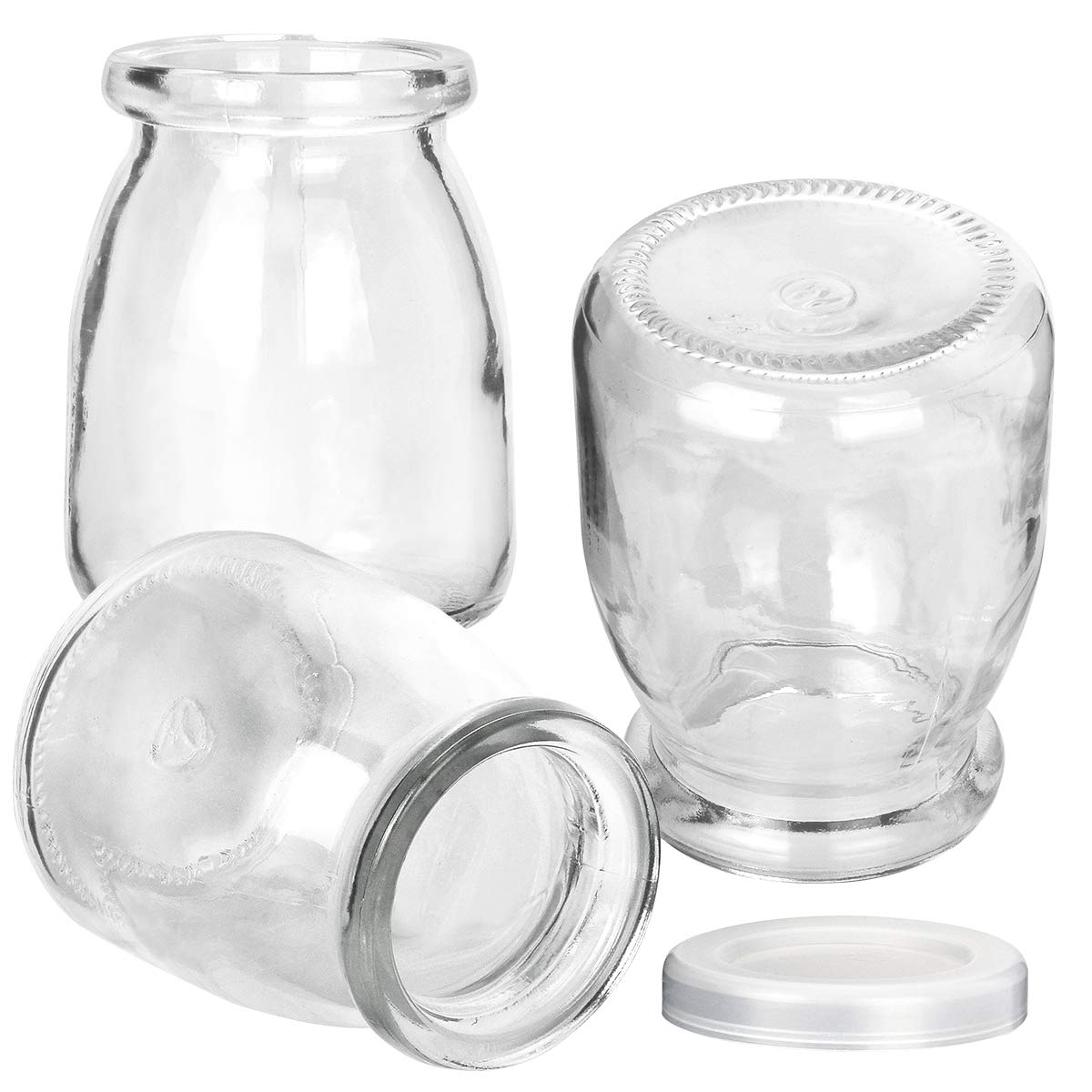 Glass Jars, KAMOTA 40 PACK 4oz Clear Yogurt Jars With PE Lids, Glass Pudding Jars Yogurt Jars Ideal for Jam, Honey, Wedding Favors, Shower Favors, Baby Foods (150ml) by KAMOTA (Image #3)