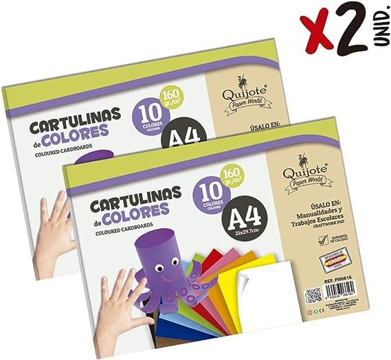 Quijote Paper World Pack 2 Blocs de Papel, Cartulinas, Hojas de colores, Papel Manuladidades, 20 Hojas A4, 160gr/m² para Manualidades, Dibujo, Diseños,etc. 10 colores: Amazon.es: Oficina y papelería