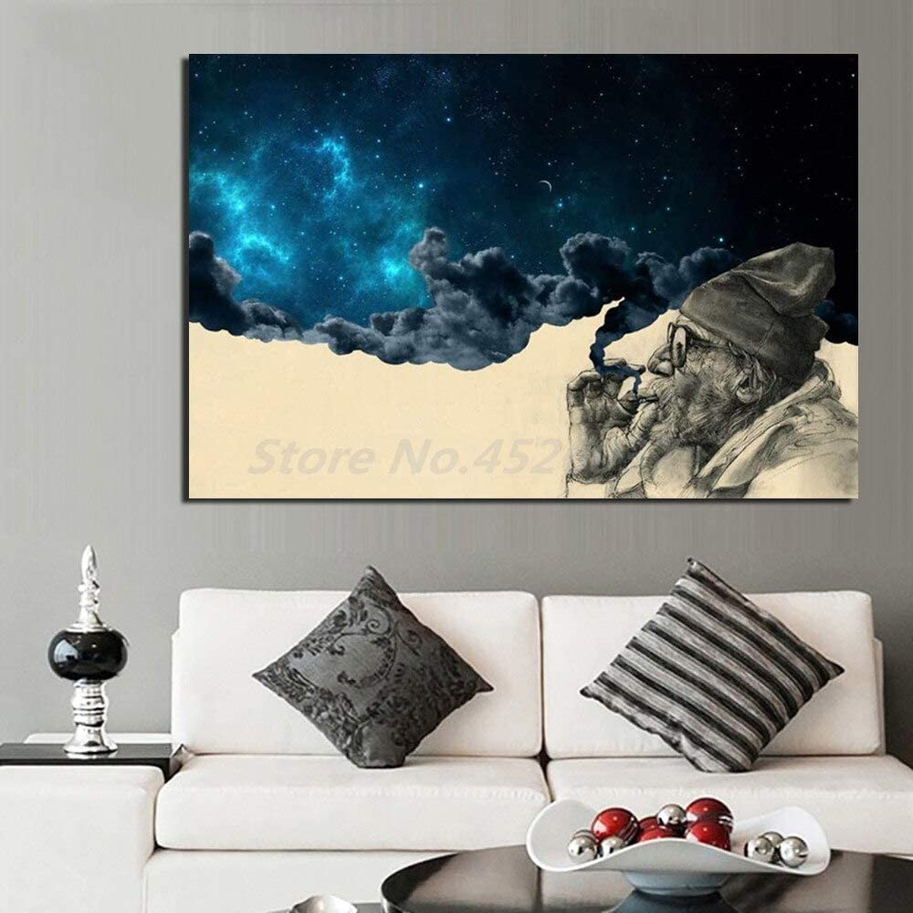 Art canvas painting Smoke And Wonder Old Man Smoking Canvas Prints Picture Modular Paintings For Living Room Poster On The Wall Home Decor 60x90cm