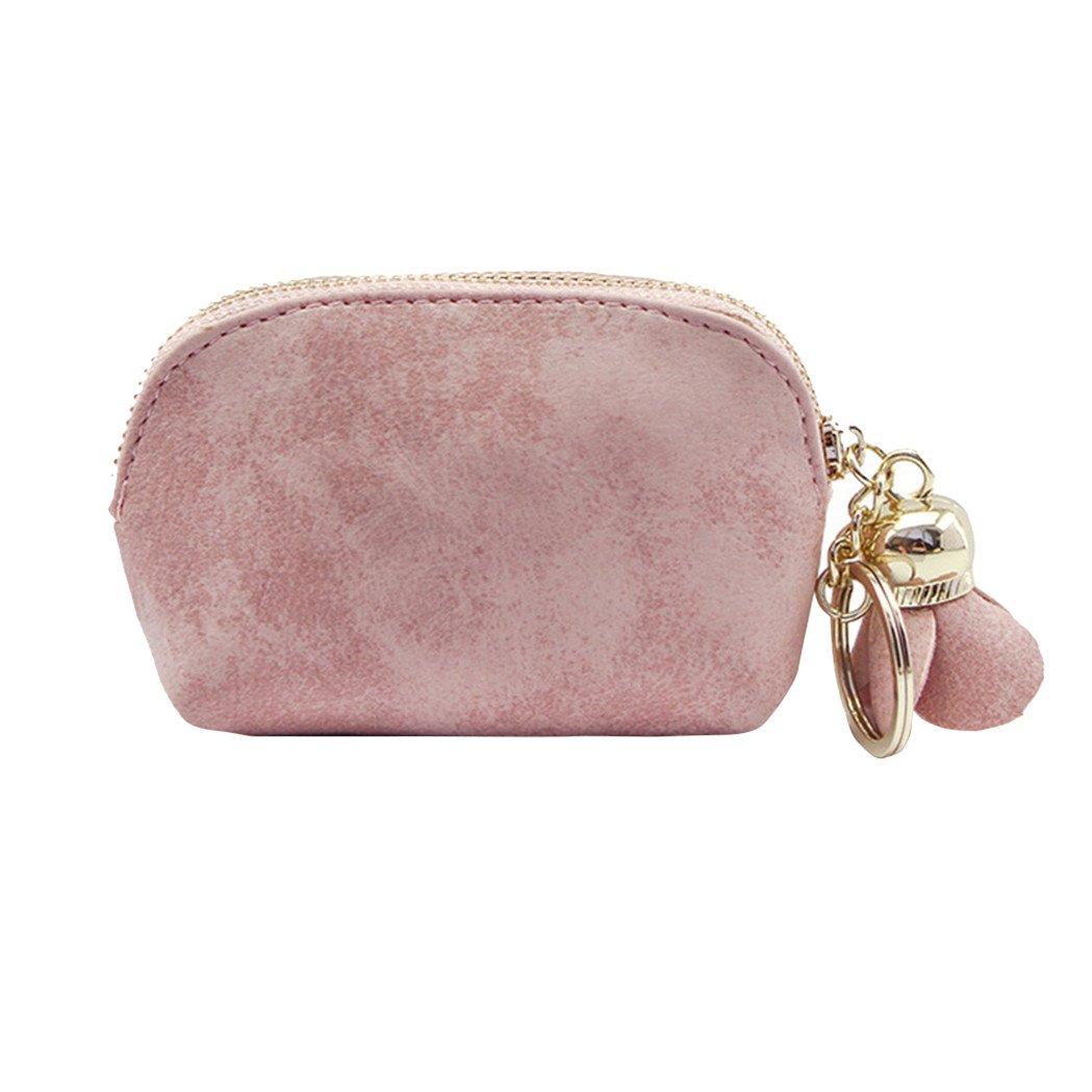 Lilyeyes Fashion Faux Leather Rose Pendant Zipper Women Coin Purse Wallet Mini Bag size Small (Pink)