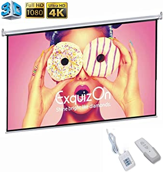 """Remote Exquizon 100/""""16:9 1.2 Gain Electric Motorized 3D 4K HD Projector Screen"""