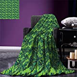 smallbeefly Green Digital Printing Blanket Tropical Island Forest Theme with Palm Trees Exotic Hawaii Nature Jungle Summer Quilt Comforter Jade Green Lime Green