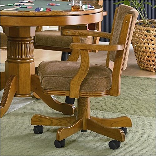 BOWERY HILL Upholsted Arm Chair with Casters in Oak (Upholsted)