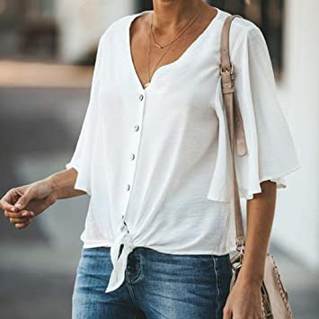 Women Casual Top,AIMTOPPY Womens Solid Color V-Neck Blouse Button Bind Casual T-Shirt