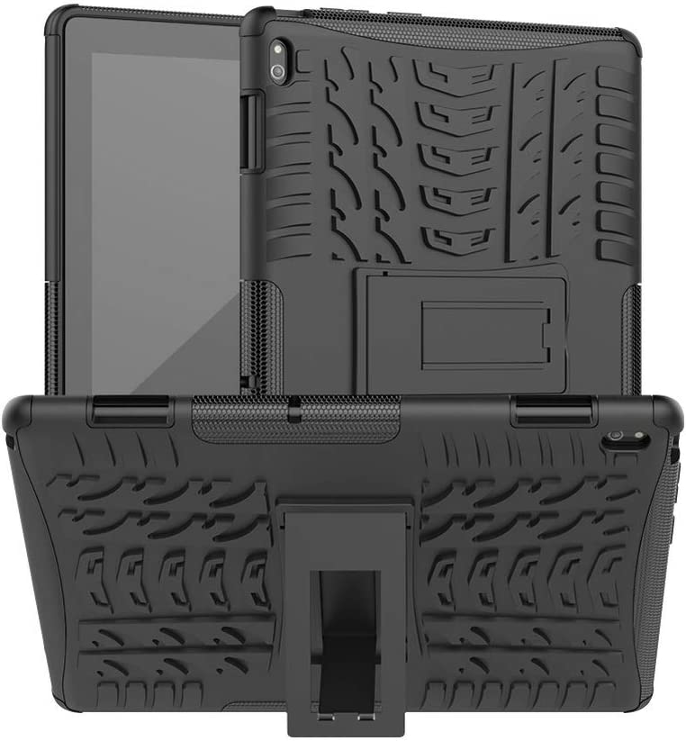 DWaybox Heavy Duty Case for Lenovo Tab E10 TB-X104F Hybrid Armor Rugged Shockproof Combo Dual Layer Hard Protective Cover with Kickstand -Black