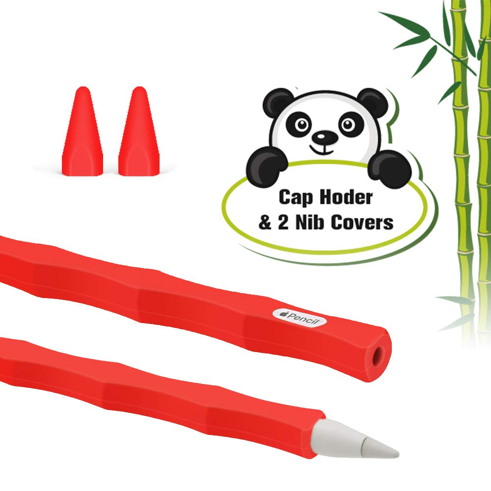 Green Bamboo Soft Grip Pouch Cap Holder and 2 Protective Nib Covers Silicone Case for Apple Pencil 2nd Generation Holder Sleeve Skin Pocket Cover Accessories Kit for iPad Pro 11 12.9 inch 2018