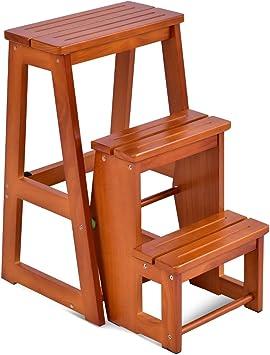 Costway - Taburete escalera de madera, taburete plegable, multifuncional, 3 peldaños 57 x 38 x 65 cm: Amazon.es: Bricolaje y herramientas
