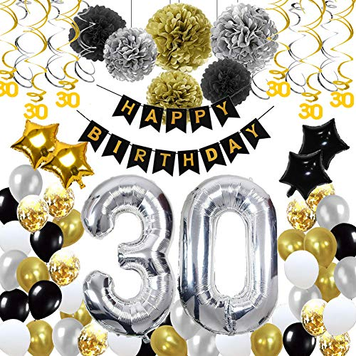 30th Birthday Decorations,30th Happy Birthday Decorations Balloons Party Supplies,30 Birthday Balloons Banners Confetti Hanging Swirls Paper Pompoms Cake Topper,for Her Women Girls -