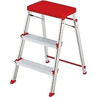 Rolser Taburete doméstico Aluminio M/3, Rojo, 14.5x47.5x92 cm