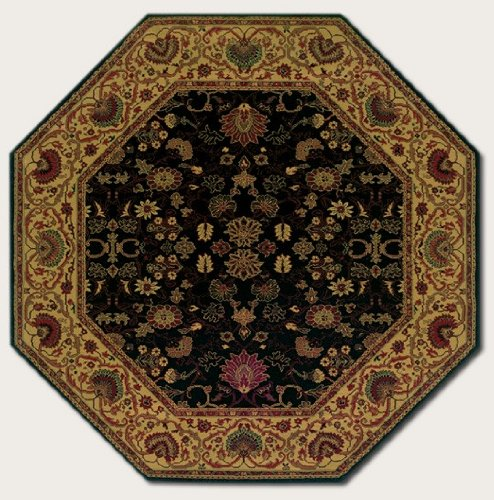 Couristan 3773/4876 Everest Tabriz/Midnight 3-Feet 11-Inch Octagon Rug Couristan Oriental Rugs Collection