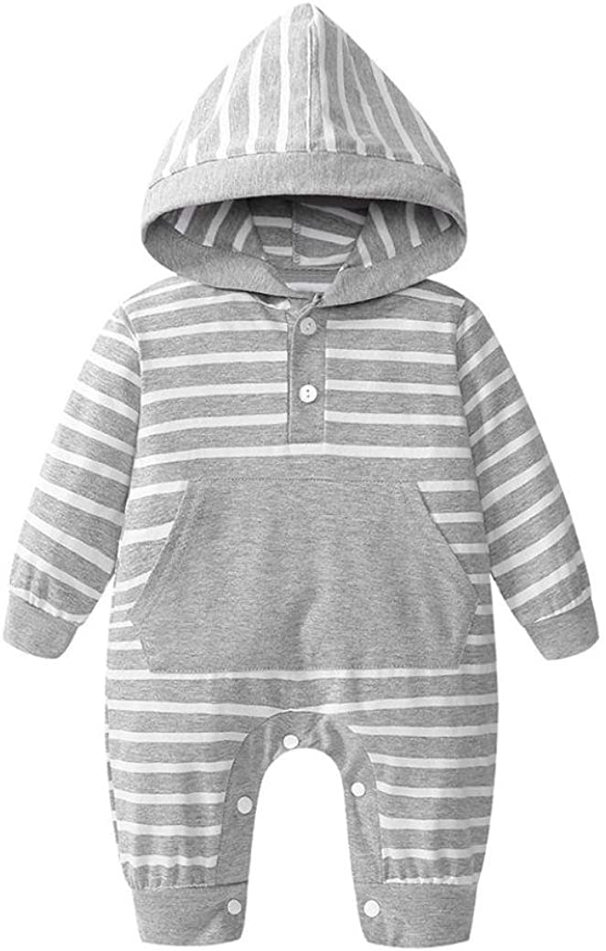 Vinjeely Newborn Baby Gray//Pink Striped Print Hooded Pocket Rompers Jumpsuit Outfits 0-24 Months