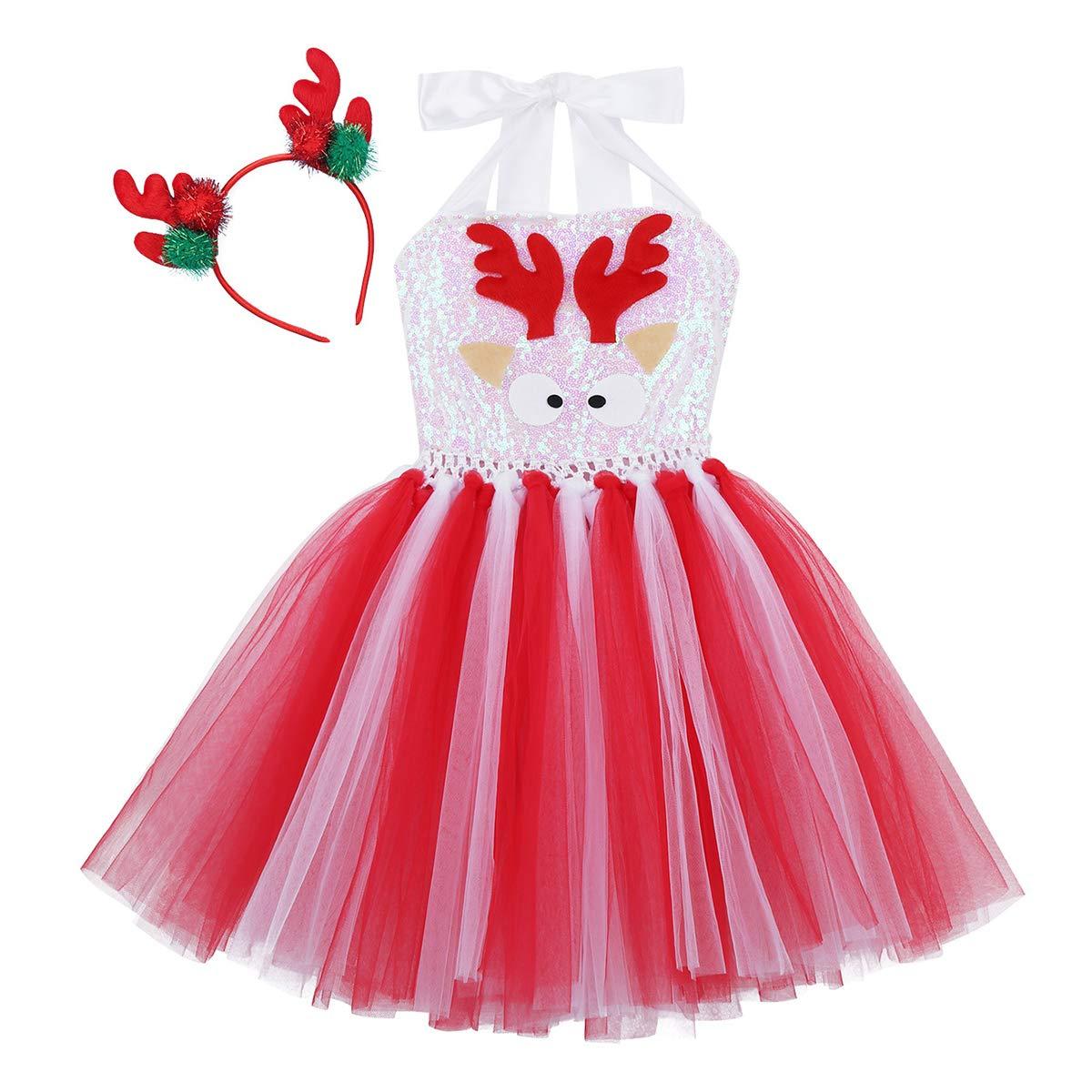 inhzoy Disfraz de Reno Navidad para Ni/ña Vestido Tut/ú de Princesa Lentejuelas Traje de Santa Navide/ño Diadema de Alce Disfraz Fiesta Cosplay